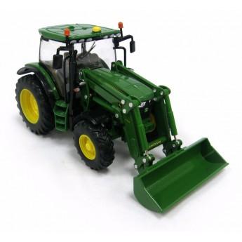 Игрушка трактор John Deere 6215R с погрузчиком