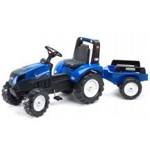 Детский педальный трактор Falk 3090B New Holland T8 с прицепом