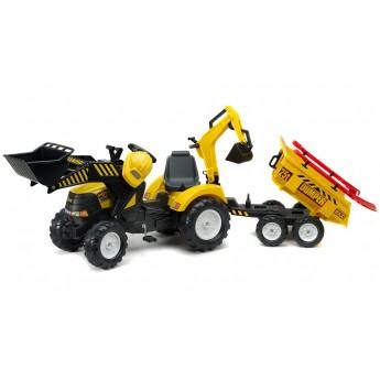 Трактор на педалях Falk 1000WH Powerloader с прицепом, погрузчиком и экскаватором + аксессуары