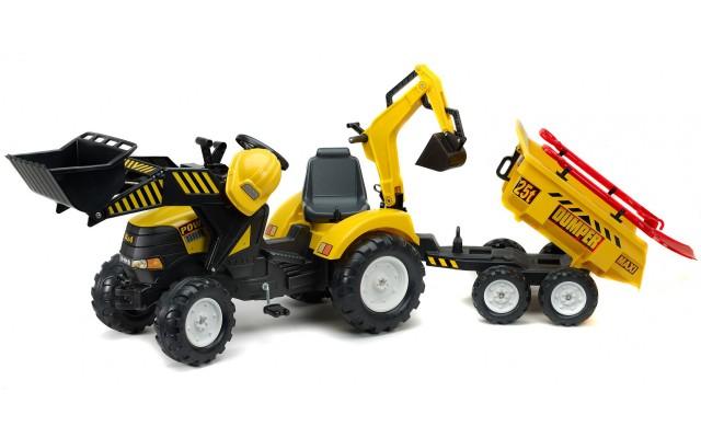Трактор на педалях Falk 1000WH Powerloader з причіпом, навантажувачем і екскаватором + аксессуары
