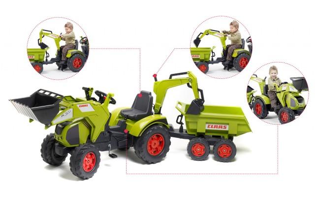 Трактор на педалях Falk 1010W Claas Axos 330 з причіпом, навантажувачем і екскаватором