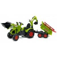 Трактор педальний Falk 1010WH Claas Axos 330 з двоосним причіпом, навантажувачем і екскаватором + лопата і грабли