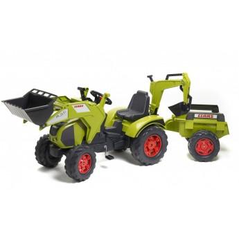 Трактор на педалях Falk 1010Y Claas Axos 330 с прицепом, погрузчиком и экскаватором