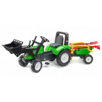 Трактор на педалях Falk 1057RM Garden Master с ковшом и прицепом, лопатка+грабли