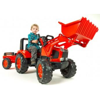 Трактор на педалях Falk 2060AM Kubota M135GX з ковшем і причіпом