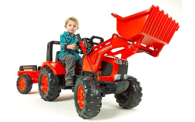 Трактор на педалях Falk 2060AM Kubota M135GX с ковшом и прицепом
