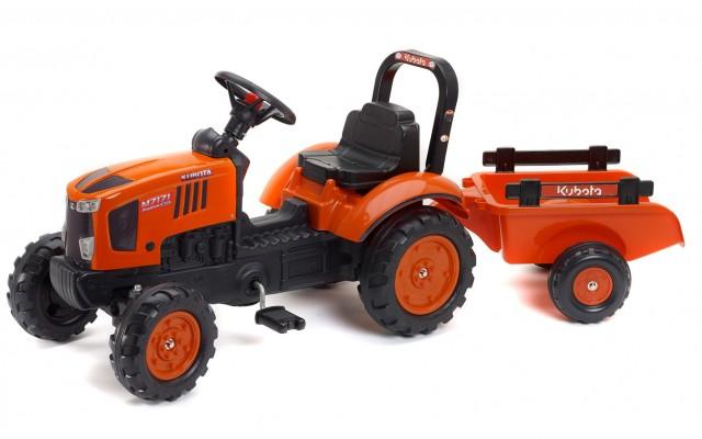 Трактор педальний Falk 2065AB Kubota M7171 з причіпом