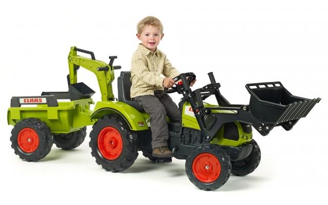 Трактор педальний Falk 2070Y Claas Arion 430 з навантажувачем, екскаватором і причіпом