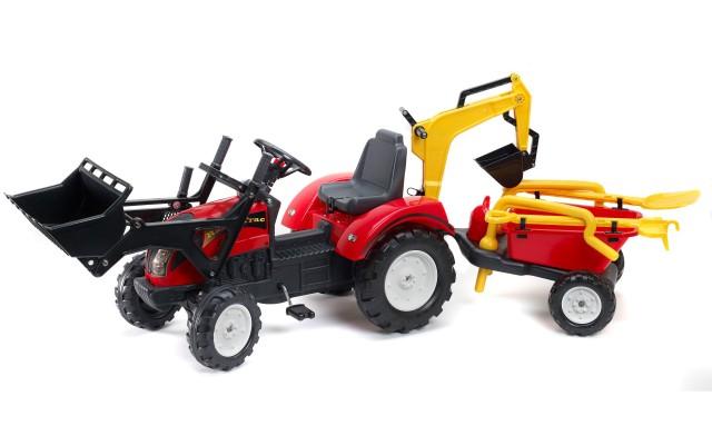 Трактор на педалях Falk 2081RM Ranch Trac с ковшом и прицепом, лопатка+грабли