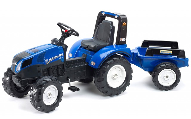 Трактор на педалях Falk 3090B New Holland T8 с прицепом