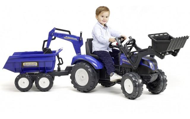 Трактор педальний Falk 3090W New Holland T8 с прицепом, погрузчиком и экскаватором