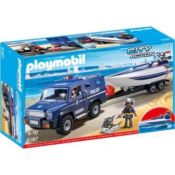 Playmobil 5187 Полицейский джип с катером и фигурками - машинка Плеймобил