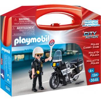 Playmobil 5648 Полицейский на мотоцикле (кейс) - фигурки Плеймобил
