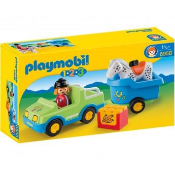 Playmobil 6958 - Автомобиль с прицепом для лошадок - машинка Плеймобил 1.2.3