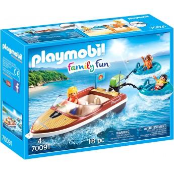 Игровой набор Playmobil Моторная лодка с водными плюшками и фигурками (70091)