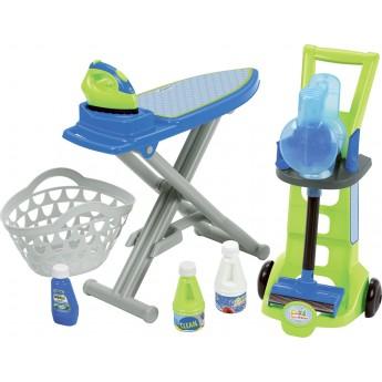Игровой набор для уборки Ecoiffier 3 в 1 Чистый дом с тележкой, вертикальным пылесосом и доской 7 аксессуаров (001762)
