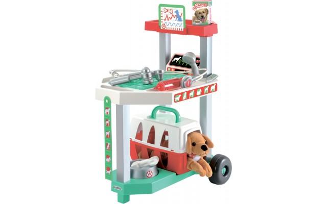 Игровой набор Ecoiffier Ветеринарная клиника с тележкой и переноской для щенка 15 аксессуаров (001909)