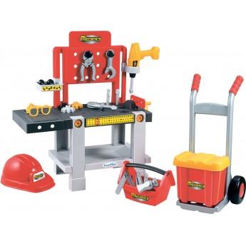 Набор детская Мастерская Ecoiffier 4 в 1 с тележкой, инструментами и шлемом 22 аксессуары (002379)
