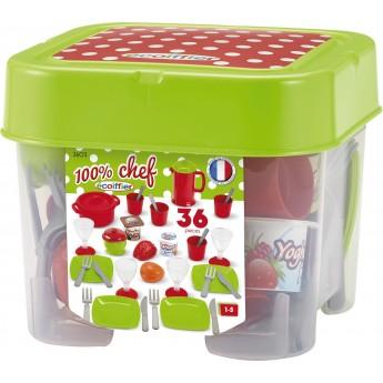 Игровой набор Ecoiffier посуда Chef с продуктами в боксе 36 шт (002603)