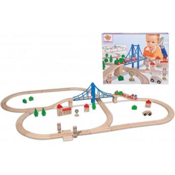 Игровой набор из дерева Eichhorn Железная дорога: Путешествие через мост (100001264)