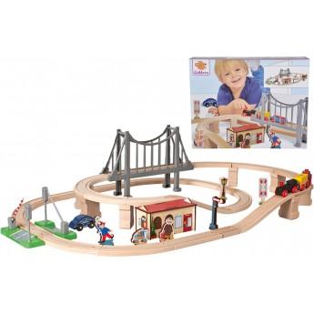 """Игровой набор Железная дорога Eichhorn """"Прибытие на остановку"""" деревянная (100001266)"""