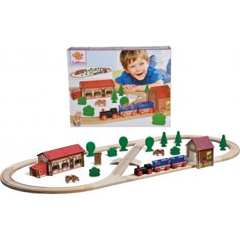 Детская железная дорога Eichhorn Путешествие на ферму, деревянная (100001268)