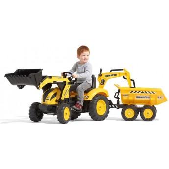 Детский трактор на педалях Falk 2086W Komatsu с прицепом, передним и задним ковшами