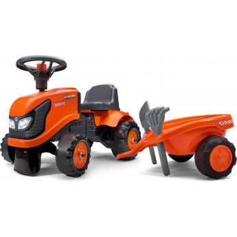 Детский трактор каталка FALK 260C Kubota с прицепом, лопаткой и граблями