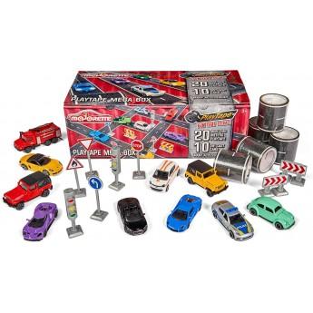 Игровой набор Majorette Мега-бокс: 20 м клейкой дороги, 10 машинок, дорожные знаки (2058198)