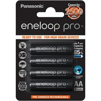 Аккумуляторы Panasonic Eneloop Pro АА 2500 мАч 4 шт. (BK-3HCDE/4BE)