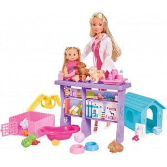 Кукольный набор Simba Штеффи и Эви Ветеринарная клиника, с животными и аксессуарами (5733040)