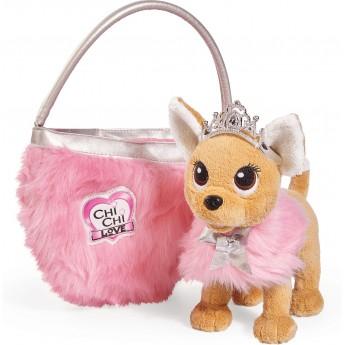 Игрушка собачка Chi Chi Love Чихуахуа Фэшн Принцесса красоты в меховом манто с тиарой и сумочкой 20 см Simba (5893126)
