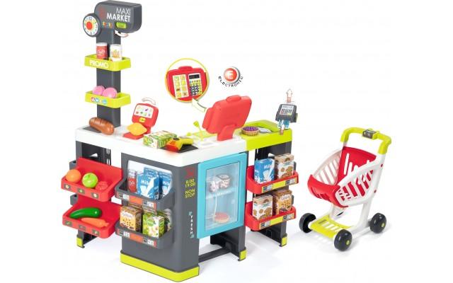 Игровой набор Smoby Интерактивный супермаркет Maxi Market со звуковыми эффектами, тележкой и аксессуарами (350215)