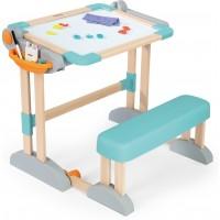 Парта-трансформер Smoby Toys дерев'яна з мольбертом-дошкою, розкладна (420301)