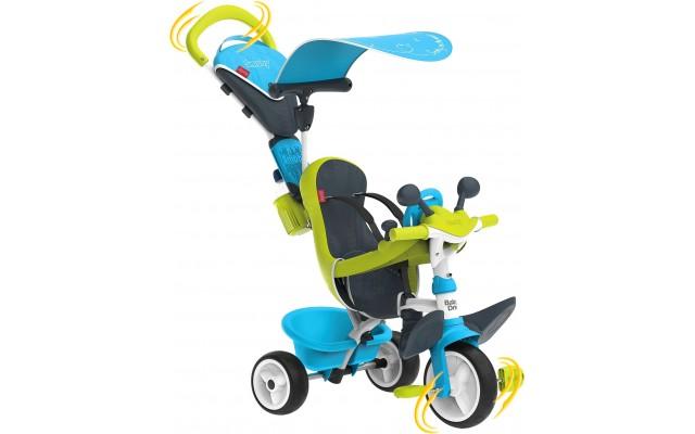 Дитячий велосипед Smoby Toys Бебі Драйвер з козирком і багажником блакитно-зелений (741200)