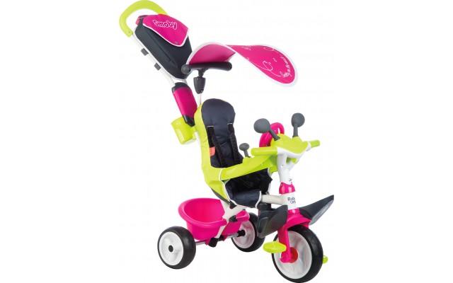 Велосипед Smoby Toys Беби Драйвер трехколесный с козырьком и багажником розовый (741201)