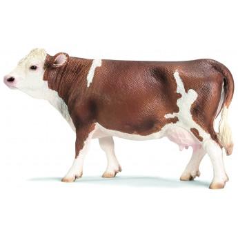 Фигурка Schleich Коричнево-белая корова симментальской породы (Шляйх)