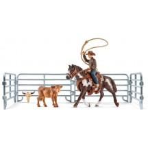 Фигурки Schleich всадник-ковбой на лошади с аксессуарами (41418)