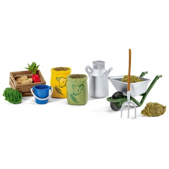 Игровой набор Schleich корм и инструменты для ухода за животными (42301)